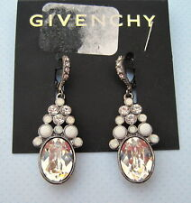 Givenchy~Hematite Tone~Oval Crystal Stone Opal~Pave~Drop Earrings~$52~Bridal