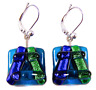 "DICHROIC Glass Earrings Blue Sapphire Green Emerald Euro Lever Dangle 5/8"" 15mm"
