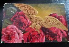 Antique 1910 Gold Flower Love Poem Flowers Postmarked Postcard