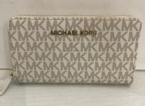 Michael Kors Jet Set Large Flat Multifunction Phone Case Wallet Logo Zip NWT