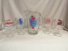 Vintage Old Style Beer Pitcher and Four Various Beer Glasses