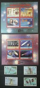 MONSERRAT SUPERB MINT STAMPS AND MINI SHEETS. 1986 HALLEYS COMET. VERY PRETTY
