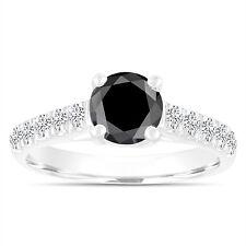Platinum Enhanced Black Diamond Engagement Ring Wedding Ring 1.55 Carat