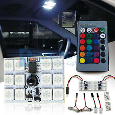 2x RGB LED Bulbs Panel 12-SMD 5050 8 Color Remote Dome Light Map License Plate