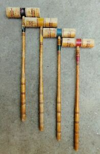 """4 Vintage Wooden Croquet Mallets - 27-1/2"""" in Length"""
