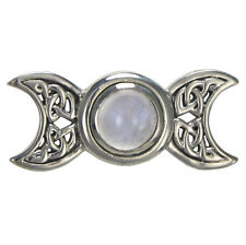 Sterling Silver Celtic Knot Triple Moon Goddess Moonstone Pendant Lunar Jewelry