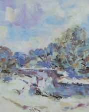 Art Original Oil Painting by RM Mortensen Landscape Snow Winter Sky