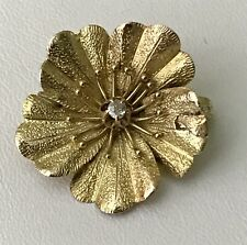 ⭐️Victorian 14K Gold Petite Flower Brooch/Pin with European Cut Diamond C-Clasp