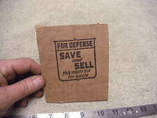 FOR DEFENSE Save And Sell This Empty Box for waste  Cut out of WW2 era Box
