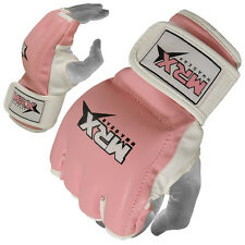 MMA Gloves Women Boxing Grappling Ladies Glove ufc Cage Fight Kick Pink/White, M
