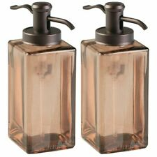 mDesign Square Glass Refillable Soap Dispenser Pump, 2 Pack - Sand Brown/Bronze