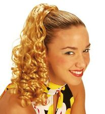 Ladies Long Blonde Curly Hair Extension Ponytail Wig 60s 70s 80s Fancy Dress