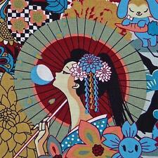 Kawaii Japanese Cotton Fabric Lovely Geisha & Anime by Transpacific Per 1/2 Yard