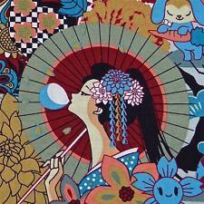 Kawaii Japanese Cotton Fabric Lovely Geisha & Anime by Transpacific Per 1/2 Yard