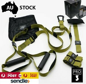 Suspension Trainer Kit Bodyweight Fitness Green TRX Workout Training Straps P3-3