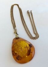 Stunning Ladies Large Vintage Amber Pendant On Lovely Vintage 9ct Gold Chain