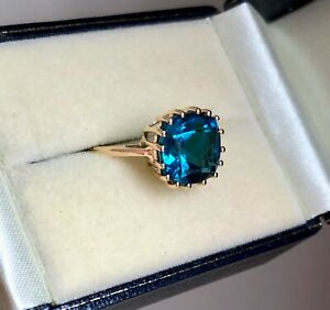 LARGE 5.18CT LONDON BLUE TOPAZ RING 9K Y GOLD SIZE O 'CERTIFIED' BEAUTIFUL!