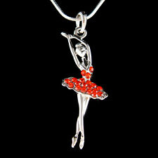 w Swarovski Crystal ~Red BALLERINA~ Ballet Dancer Teacher Charm Necklace Jewelry