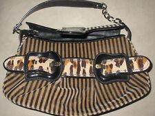 """Fendi Leather & Velvet Striped & Leopard """"B"""" Shoulder Bag - Brown, Black & Beige"""