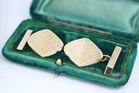 Vintage 9ct Gold Art Deco cufflinks with a Diamond cut design 9.65g #B402
