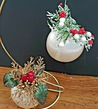 2 White Satin Balls Trimmed Greenery & Other Holiday Decor