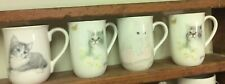 Vintage 4 Mugs Cups Cat Kitty Tabby White Otagiri Gibson Jonah's Bob Harrison