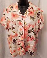 Havana Jack's Cafe Women Multi Color Floral Button Down Shirt Top Blouse Size PL