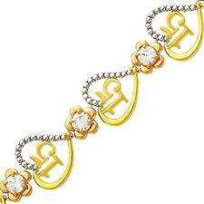 "14k Solid Tri-color Gold Quince Anos ""15"" Sweet 15 Heart Link 7.25"" Bracelet"