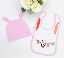 Pink Bunny Baby Bib And Hat With Ears, Snap Closure, Cute Easter Theme NEW!