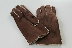 MEN'S BROWN SUEDE LEATHER SHEARLING GLOVES  - SIZE LARGE  - NEW