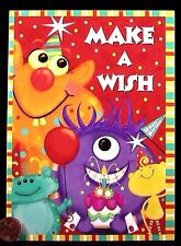 Cute Monsters Cake Balloon Hat Make a Wish - Happy Birthday Greeting Card - NEW