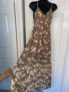 New Collection Italy Beige Ivory Floral Print Summer Maxi Dress Size 8-10