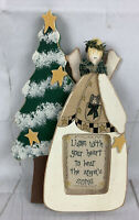 Primitive Angel Cross Stitch Wooden Frame Christmas Tree Decor