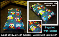 LARGE FANCY OWL BEAN BAG FLOOR CUSHION - ZIPPED REMOVABLE WASHABLE OUTER COVER