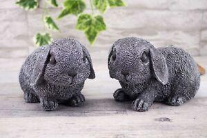 Steinfigur Hase Kaninchen 2er Set 199, 200,  Gartendeko Geschenk Figur Tierfigur