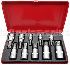 10pc XZN 12 Point MM Triple Square Spline Bit Socket Tamper Proof w/ Metal Case