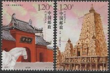 CHINA 2008-7 WHITE HORSE TEMPLE & MAHABODHI TEMPLE set of 2 stamps, MNH