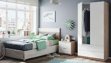 Pack muebles dormitorio juvenil color blanco y roble cabezal mesita y armario