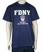 MENS NAVY FDNY T-SHIRT FIRE DEPT BLUE NEW YORK CITY OFFICIAL LICENSED NYFD TEE