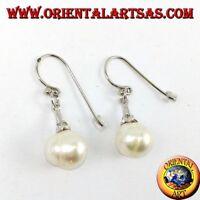 Días pendientes'plata 925 colgantes con perla de agua dulce y circonitas