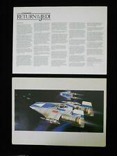Vintage Star Wars 1982 ROTJ Ralph McQuarrie Print #17 -  A-Wing w/Detail Sheet