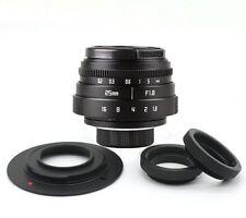 Mini Fujian 25mm f/1.8 CCTV lens II for M4/3 / MFT Mount Camera & Adapter bundle