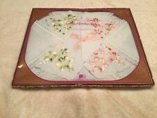 Vintage Ladies New Old Stock Boxed Set Of 3 Handkerchiefs Embroidered Lace