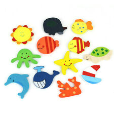 12pcs Baby Fridge Magnet Wooden Cartoon Animals Novelty Children Educational