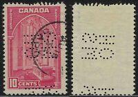 Scott OA241a-ES: 10c Memorial Chamber 5-Hole OHMS Perfin, Aug 18, 1939 SASK CDS