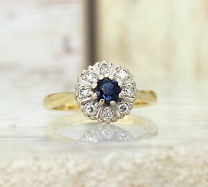 18CT GOLD SAPPHIRE & DIAMOND ROUND CLUSTER RING SIZE H, 18K,VINTAGE, ENGAGEMENT
