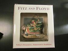 Fitz And Floyd Blown Glass Ornament Sleigh Toy Bag Christams