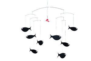 Flensted School Shoal of Fish Black Modern Hanging Baby Mobile Nursery Decor