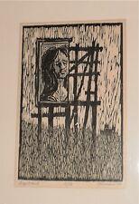 Signboard Woodcut-Woman Looking Down to Field-17/35-1964-Willam Gorman