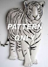 WHITE TIGER STANDING ~ NEW INTARSIA WOOD PATTERN   (Original)